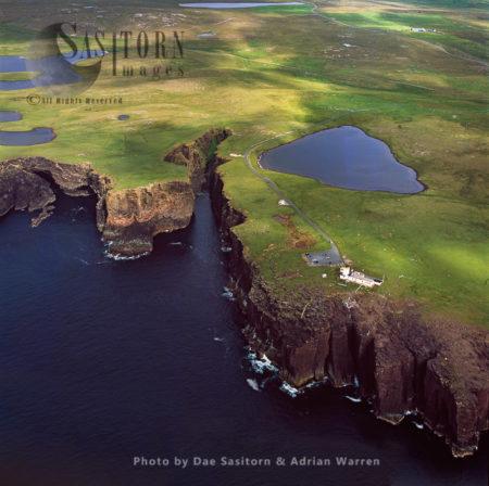 Esha Ness (Eshaness) Lighthouse And Valcanic Cliffs, Shetland Islands