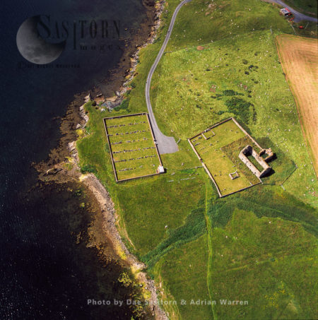 The Old Ruin Of The St Olaf's Church, On The West Shore Of Olna Firth, Shetland Islands