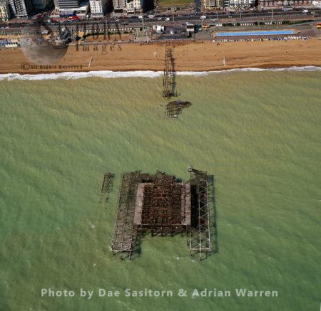 Burnt Brighton West Pier, East Sussex