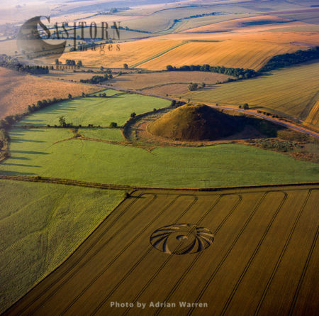 Silbury Hill With Crop Circle In Forground, Wiltshire