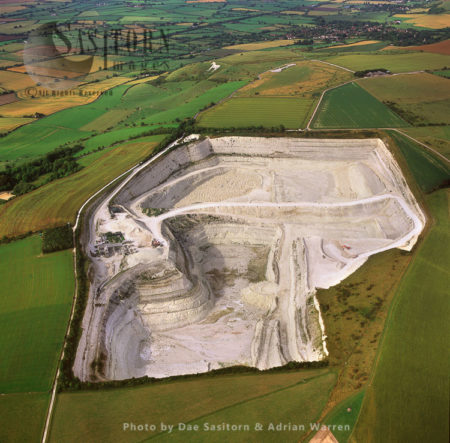 Chalk Quarry With Westbury White Horse In Background, Wiltshire
