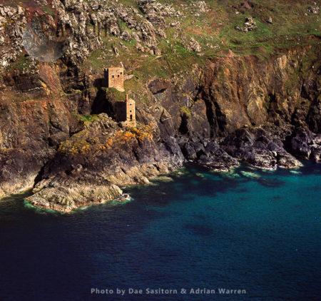 Botallack Head, Tin Mine Chimney Ruins On Cliff, Cape Cornwall, Cornwal