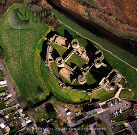 Kidwelly Castle Overlooking The River Gwendraeth, Kidwelly , Dyfed.  South Wales