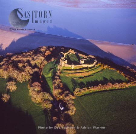 Llansteffan Castle Overlooking The River Tywi,  South Wales