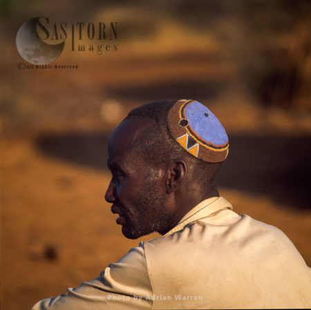 POKOT People, Male With Colourful Headpiece, Northern Kenya, 1990, Africa