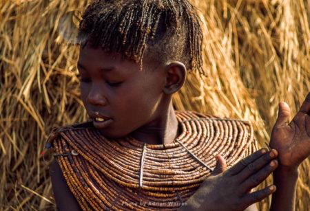 Pokot People (P_koot), Woman With Beautiful Collar Beads And Headware Jewelly, Northern Kenya. 1990