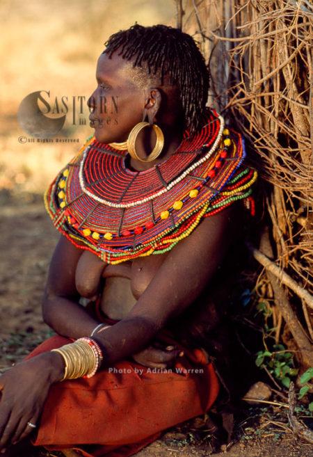 Pokot People (P_koot), Woman With Beautiful Collar Beads And Ear Rings Jewelly, Northern Kenya. 1990
