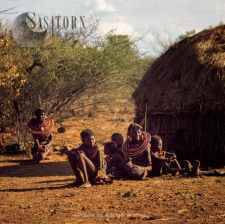 Pokot People (P_koot), Family Resting, Northern Kenya. 1990