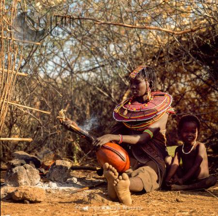 Pokot People (P_koot), Mum And A Boy, Northern Kenya. 1990