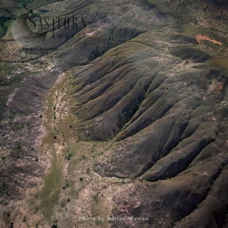 Highland Savannah And Erosion, Near Ireng River, South Of Ipichau, Rupununi District, Guyana