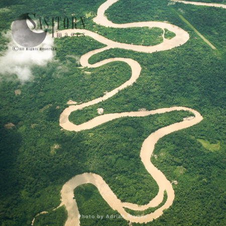 Ecuador Rainforest - Showing Meandering River And Ox-bow Lakes, Part Of The Amazon Basin, Cononaco Area.