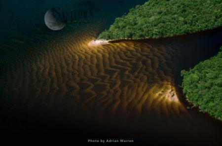 Sandbars In The Blackwater Of The Caroni River, In Estado Bolivar, Venezuela.
