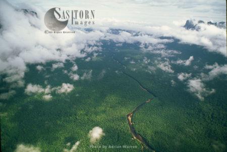 Churun Gorge With Forest And River Churun, Near Auyantepui, Venezuela, South America