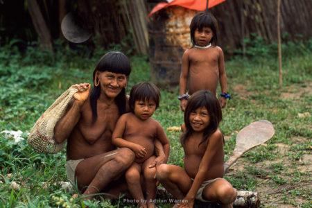 Waorani Indians, Grandmother With Children, Rio Cononaco, Ecuador, 1993