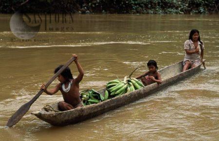 Waorani Indians, In Rowing Boat, Rio Cononaco, Ecuador, 1993