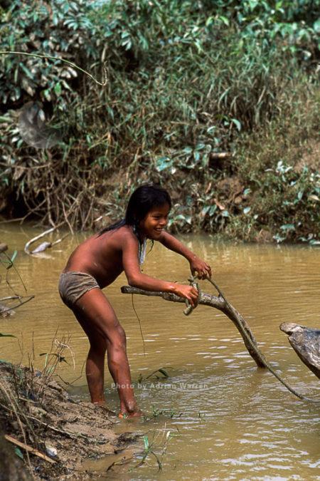 Waorani Indians, Girl Mooring Boat, Rio Cononaco, Ecuador, 1993