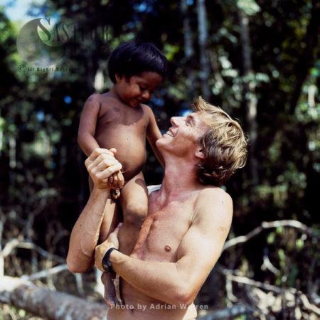 Waorani Indian Child With Adrian Warren, Rio Cononaco, Ecuador, 1983