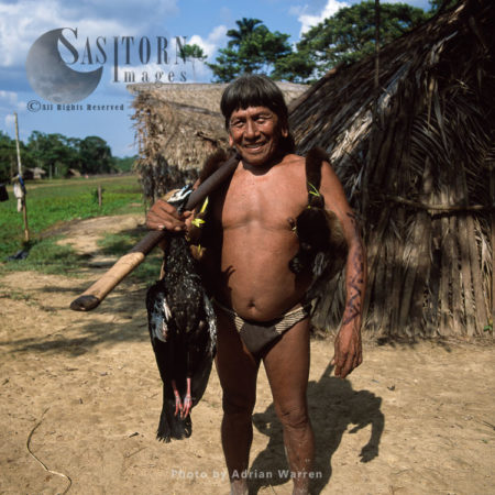 Waorani Indians: Caempaede After A Sucessful Hunt With Blowgun, Settlement Near Airstrip, Rio Cononaco, Ecuador