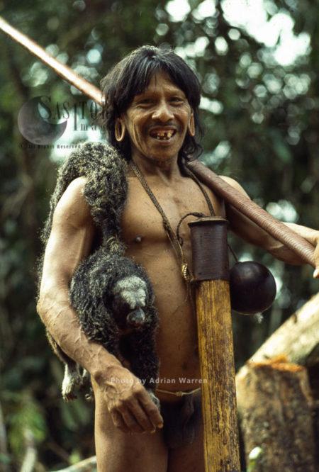 Waorani Indian, Caempaede After Hunt With Saki Monkey, Cononaco Area, Ecuador, 1983