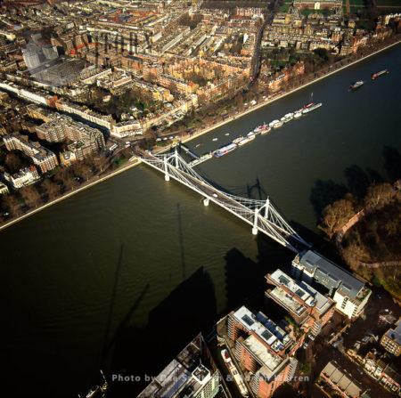 Albert Bridge And The River Thames, London, England