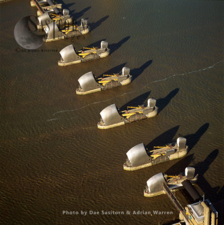 The Thames Barrier, A Movable Barrier System Designed To Prevent Flooding Of Greater London