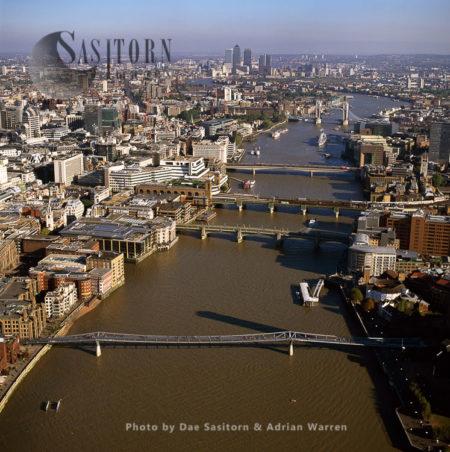 Chain Of Bridges, Starting With Millennium Bridge, River Thames, London