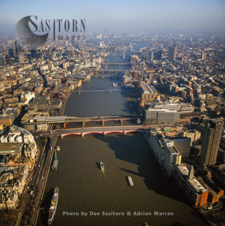 Chain Of Bridges, Starting With Blackfriars Bridge And  Blackfriars Railway Bridge, River Thames, London