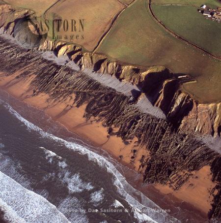Beach And Cliffs At Sandymouth Bay Beach, North Of Bude, Cornwall
