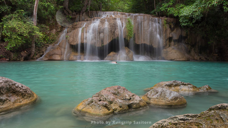 Erawan  Waterfall, The Most Famous Waterfall In Kanchanaburi Province, Thailand