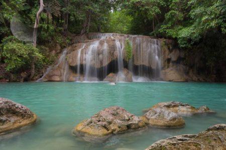 Erawan  Waterfall, The Most Famous Waterfall In Kanchanaburi Province, Thailand