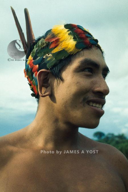 Waorani Indians: Tewae In Traditional Toucan Headdress, Tewaeno, 1974, Ecuador