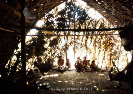 Waorani Indians, The Longhouse Interior, Gabado, Ecuador, 1973