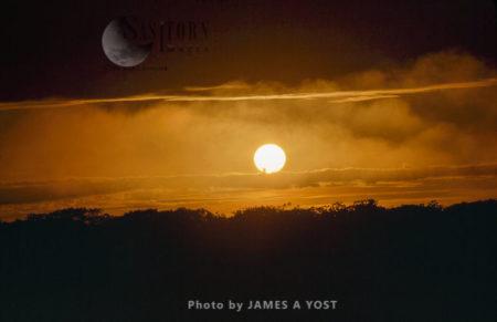 Waorani Indians: A Storm Gathers At Sunset, Limoncocha, 1975, Ecuador