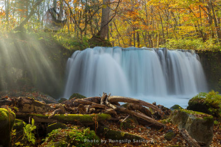 Beautiful Choshi Otaki Waterfall In Autumn Colors At Oirase Gorge And Lake Towada, Tohoku Japan.