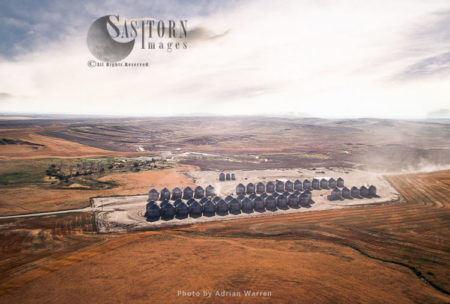 Grain Storage Bins, Wheat Farming In Montana, USA