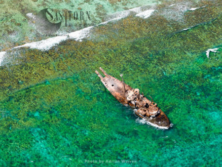 Shipwrecked Tanker, East Of Cayo Sardina, Los Roques Archipelago (islands), A National Park Of Venezuela, Caribbean Sea, South America