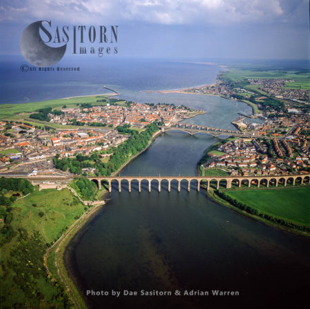 Berwick Castle And Berwick-upon-Tweed On The Estuary Of River Tweed, Northumberland, England