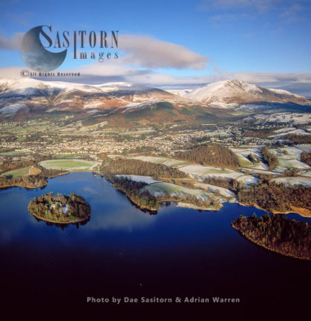 Derwent Isle On Derwentwater And Its Town Keswick, Lake District National Park, Cumbria, England