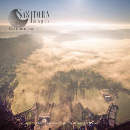 Mist Over The Somerset Levels, Near Glastonbury, Somerset, England