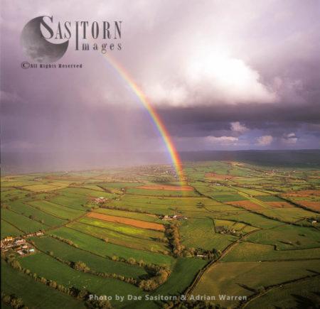Rainbow Over The Somerset Levels, Near Pilton, Somerset, England