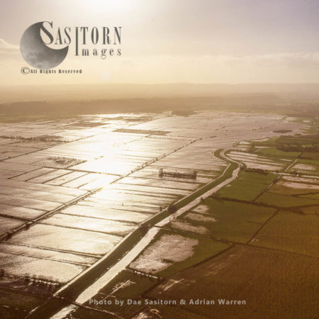 Flooded River Tone, Near North Curry, The Somerset Levels,, Somerset