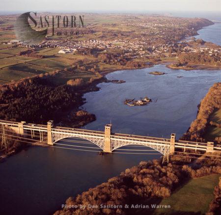 Britannia Bridge On Menai Strait, At Caernarvon, North Wales