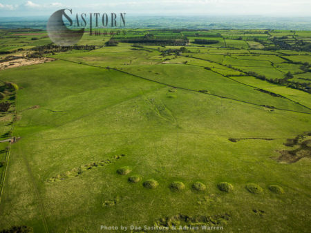 Ashen Hill Barrow Cemeteries (in Foreground) And Priddy Nine Barrows  (a Pair In The Middle And Group Of 7 Further Out), Priddy, Somerset