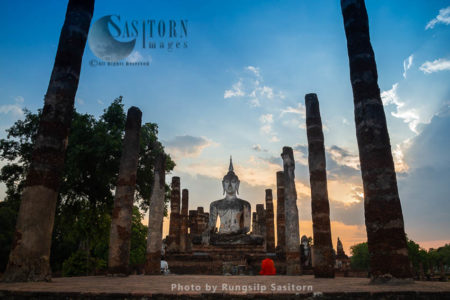 Wat Mahathat Is The Most Important And Impressive Temple Compound In Sukhothai Historical Park, Sukhothai Thailand.