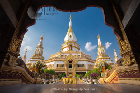 Phra Maha Chai Mongkol, One Of The Largest Pagoda Temples In Nong Pok, Roi Et Province, Thailand.