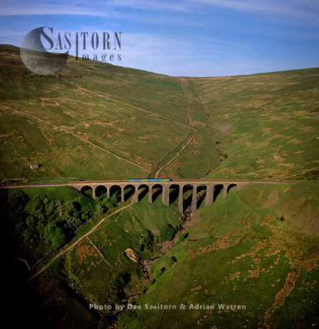 Arten Gill Railway Viaduct With A Train, Yorkshire Dales, Yorkshire, England