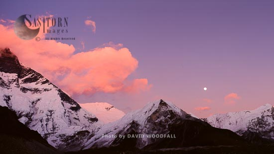 Rising Moon Over Island Peak (Imja Tse), Himalayan Mountain Range, Sagarmatha National Park, Nepal