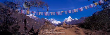 Tibetan Prayer Flags, Ama Dablam And Lhotse, Sagarmatha National Park Of The Himalayas, Nepal